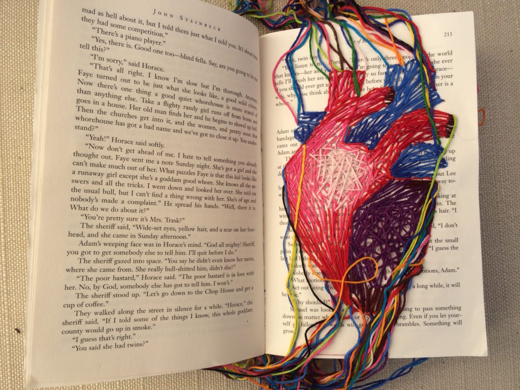 Sample student project image: Riley Wilson's embroidered East of Eden hypertext